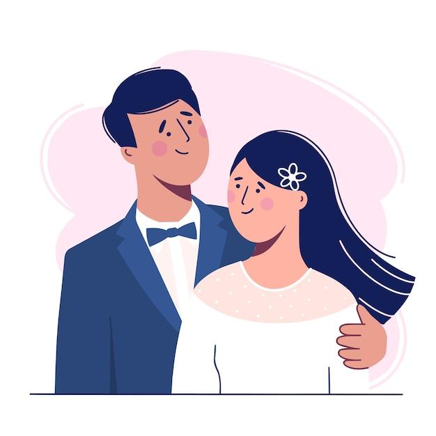 Hochzeit. die braut und der bräutigam. liebevolles schönes paar. illustration Premium Vektoren