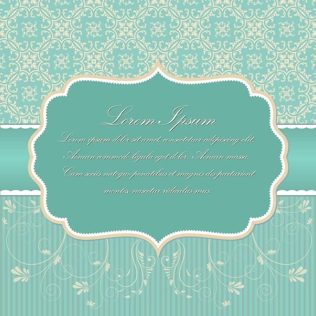 Hochzeit einladung und ankündigung karte mit vintage hintergrund kunstwerk. eleganter aufwändiger damasthintergrund. elegante florale abstrakte verzierung. designvorlage. Kostenlosen Vektoren