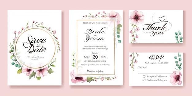 Hochzeit einladungskarte. anemonenblume aquarellstile. Premium Vektoren