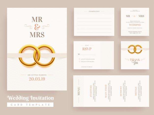 Hochzeit einladungskarte schablonendesign Premium Vektoren