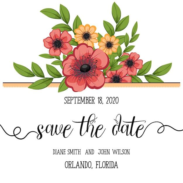 Hochzeit Einladungskarte Suite Mit Blumen Vorlagen Vector