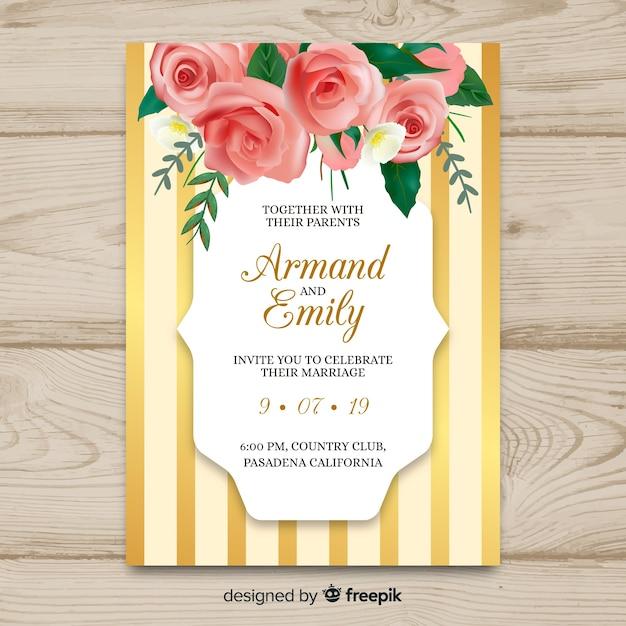 Hochzeit einladungskarte vorlage Kostenlosen Vektoren