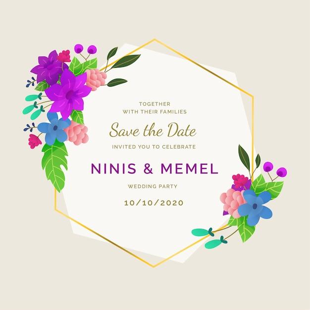 Hochzeit elegante und florale rahmenverzierung Kostenlosen Vektoren