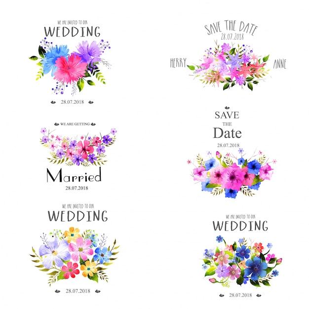 Hochzeit element set mit aquarell blumen. Premium Vektoren