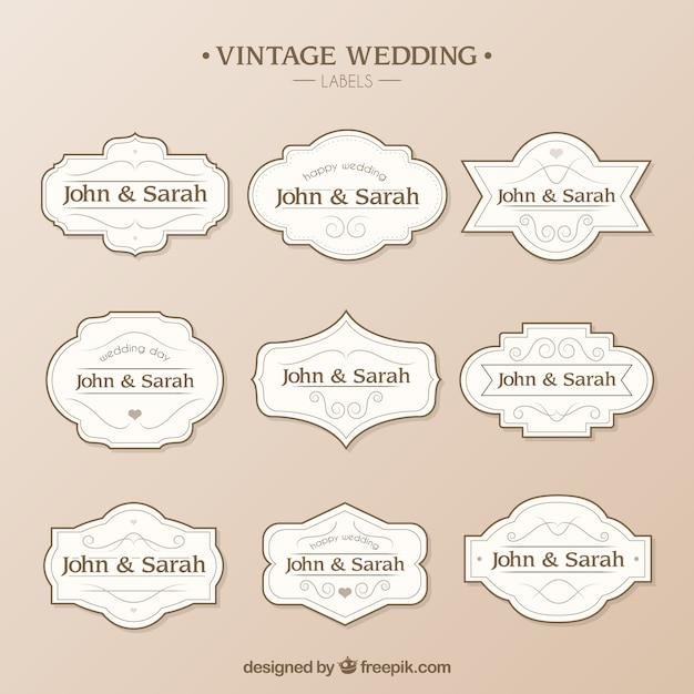 Hochzeit Etiketten-Vorlage | Download der kostenlosen Vektor