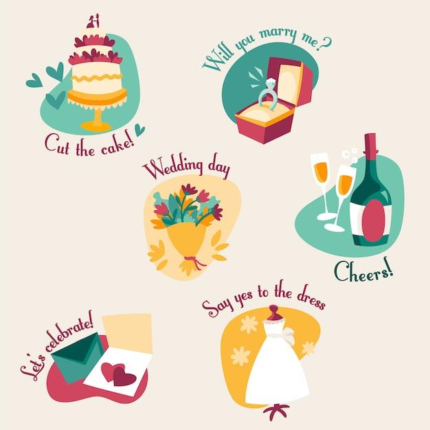 Hochzeit etiketten Kostenlosen Vektoren