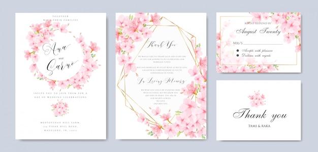 Hochzeit floral cherry blossom frame vorlage Premium Vektoren