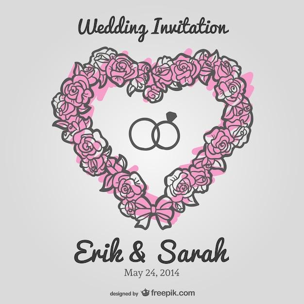 Hochzeit floral herz vektor-einladung Kostenlosen Vektoren