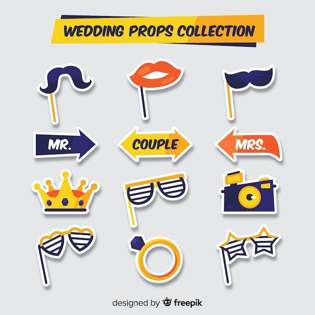 Hochzeit foto stand requisiten-sammlung Kostenlosen Vektoren