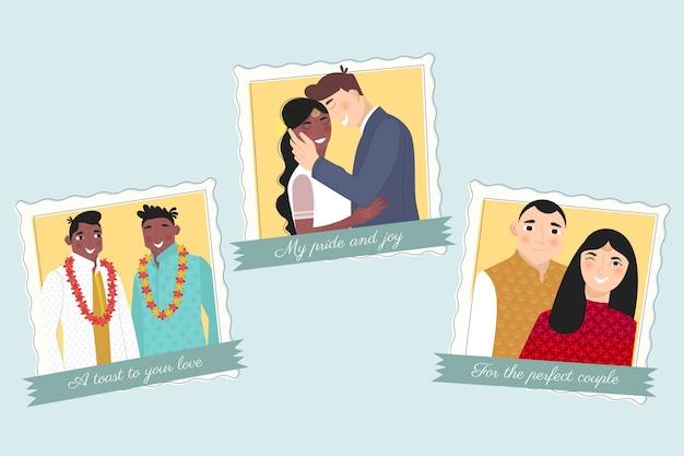 Hochzeit für die perfekten paare Kostenlosen Vektoren