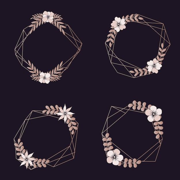 Hochzeit geometrische grenzen sortiment Kostenlosen Vektoren