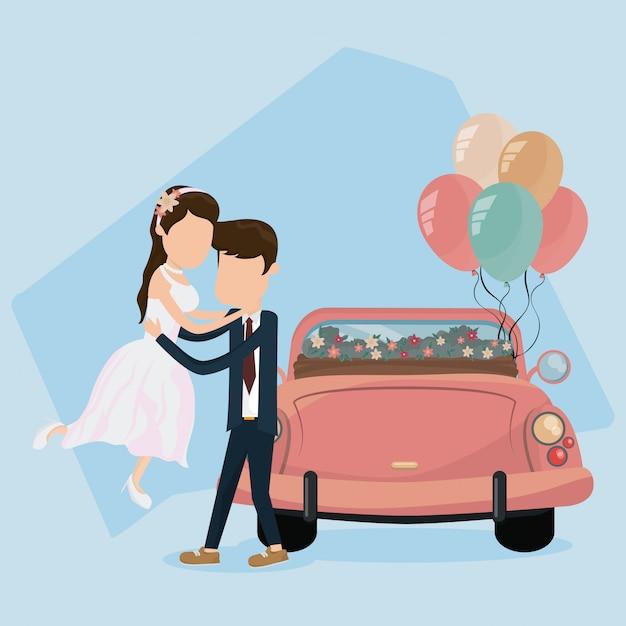 Hochzeit gerade verheiratete karte Premium Vektoren