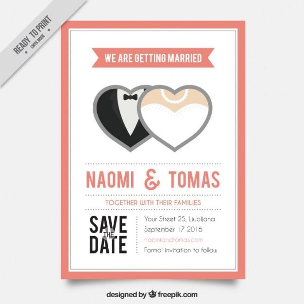 Hochzeit-karte mit zwei herzen Kostenlosen Vektoren
