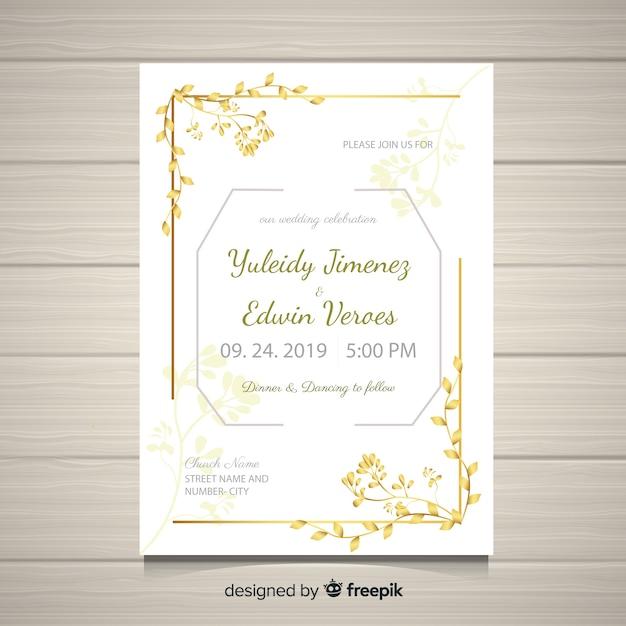 Hochzeit Kartenvorlage Kostenlose Vektoren