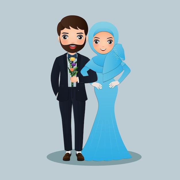 Hochzeit mit der braut und bräutigam niedlichen muslimischen paar cartoon Premium Vektoren