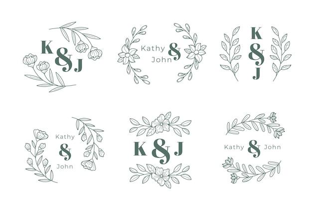 Hochzeit monogramm logo sammlung Kostenlosen Vektoren