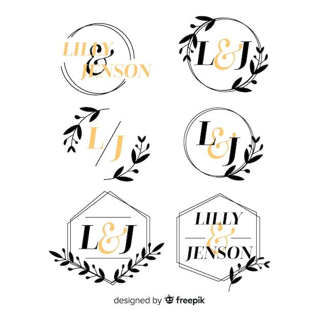 Hochzeit monogramm logo vorlagen sammlung Premium Vektoren