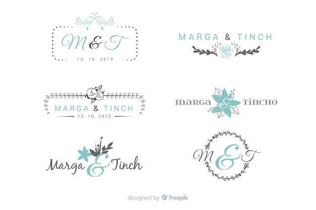 Hochzeit monogramm logo vorlagen sammlung Kostenlosen Vektoren