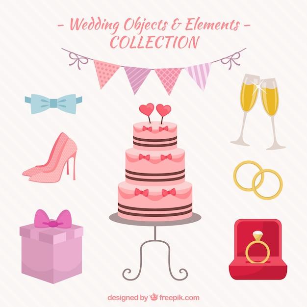 Hochzeit objekte und elemente packen Kostenlosen Vektoren