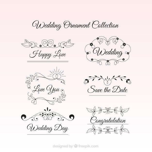 Hochzeit ornamente mit einer emotionalen text Premium Vektoren