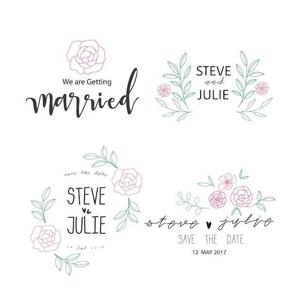 Hochzeit ornamente sammlung Kostenlosen Vektoren