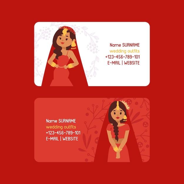 Hochzeit Outfits Set Visitenkarten Schöne Indische Frau