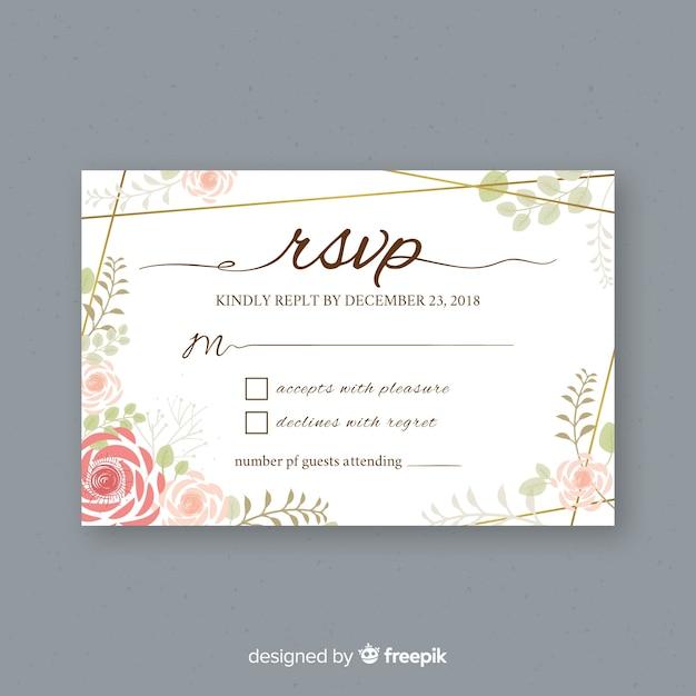 Hochzeit rsvp karte Kostenlosen Vektoren