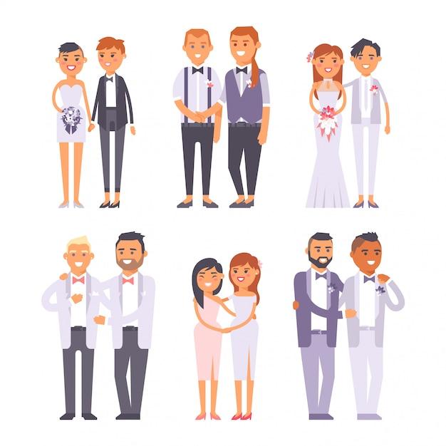 Hochzeit schwule paare charaktere Premium Vektoren