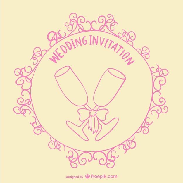 Hochzeit toast einladungskarte Kostenlosen Vektoren