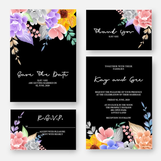 Hochzeits-einladung, mit blumen laden ein, danken ihnen, entwurfsschablone der uawg-modernen karte Premium Vektoren