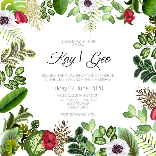 Hochzeits-einladung, mit blumen laden ein, danken ihnen, modernes karten-design des uawg: grüner tropischer palmblattgrüneukalyptus verzweigt sich dekorativer kranz Premium Vektoren
