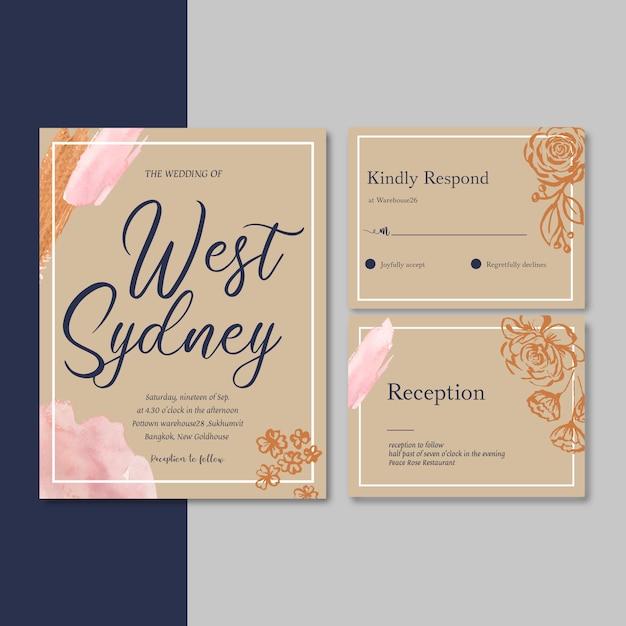 Hochzeits-einladung mit dem laub romantisch, luxusblumen-aquarellillustration Kostenlosen Vektoren