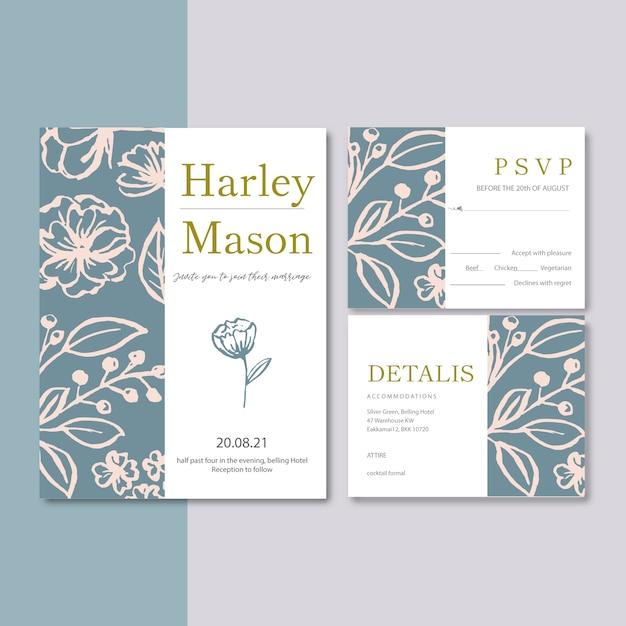 Hochzeits-einladung mit den anlagen romantisch, kontrastblumen-aquarellillustration Kostenlosen Vektoren