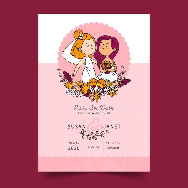 Hochzeits-einladung mit karikaturpaaren Kostenlosen Vektoren