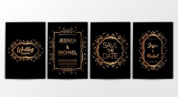 Hochzeits-einladungs-karten mit luxuriösem konzeptsatz Premium Vektoren
