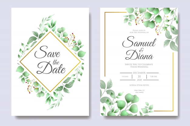 Hochzeits-einladungs-karten-schablone mit schönen blumenblättern Premium Vektoren
