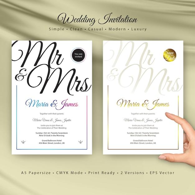 Hochzeits-Einladungs-Karten-Schablone | Download der Premium Vektor