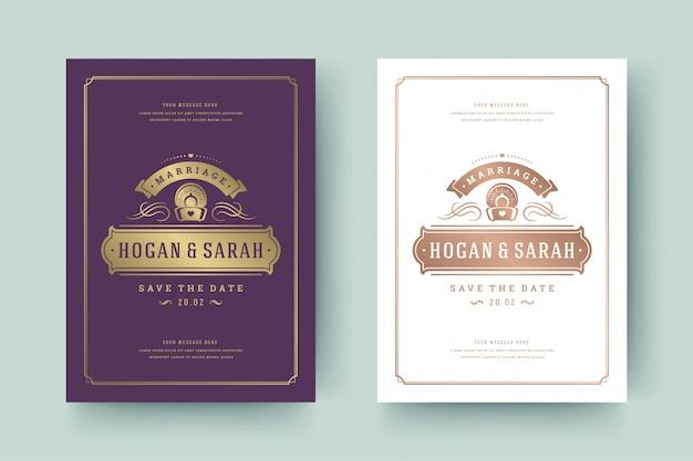 Hochzeits-einladungs-save the date-karten-goldene flourishesverzierungs-vignettenstrudel. vintage viktorianischen rahmen und dekorationen. Premium Vektoren