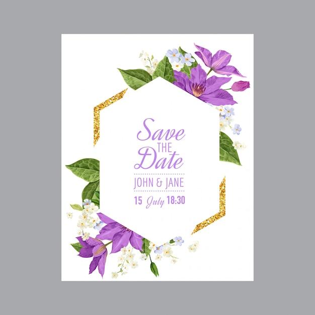 Hochzeits-einladungs-schablone mit clematis-blumen Premium Vektoren