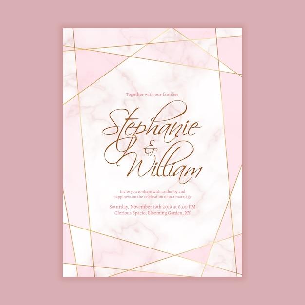 Hochzeits-einladungs-schablone mit marmorhintergrund und geometrische form in der goldenen linie Premium Vektoren