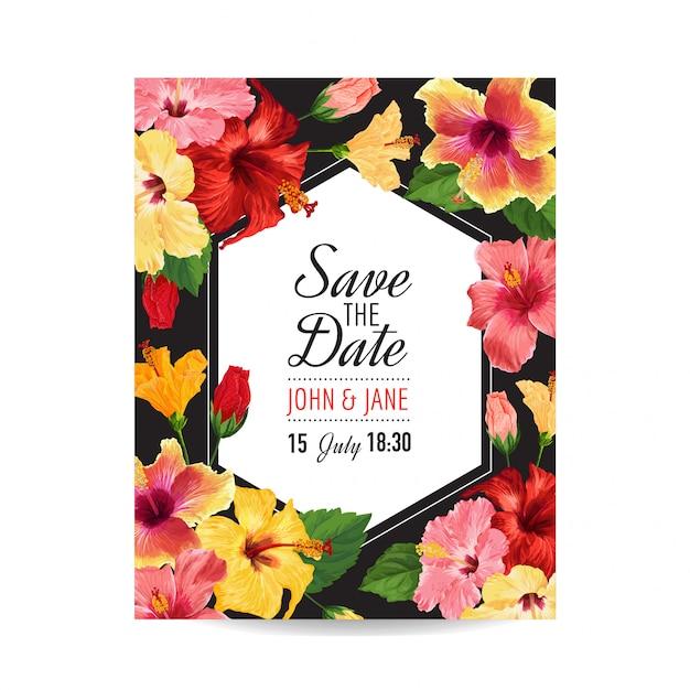 Hochzeits-einladungs-schablone mit roten hibiscus-blumen. Premium Vektoren