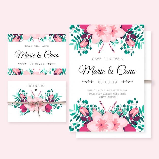 Hochzeits-Einladungs-Schablone mit wilden Blumen | Download der ...