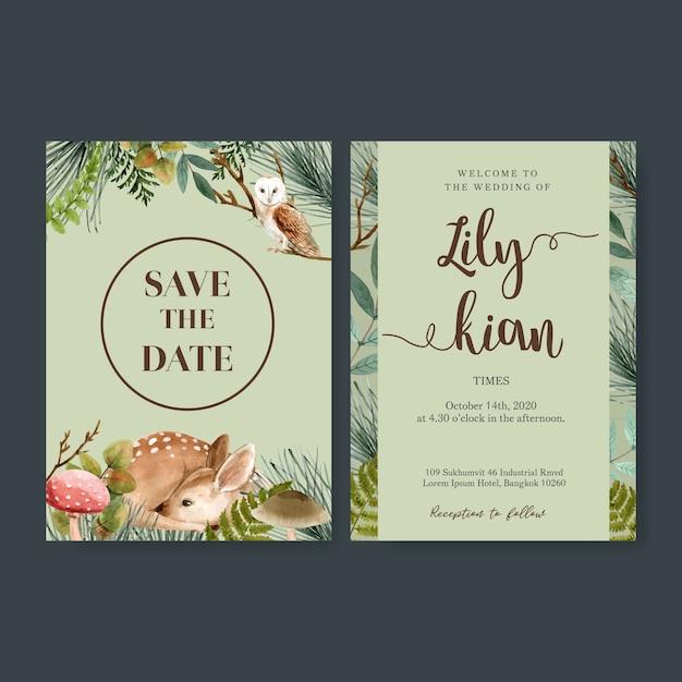 Hochzeits-einladungsaquarell mit dem wald cool-getont Kostenlosen Vektoren