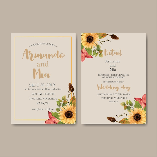 Hochzeits-einladungsaquarell mit kürbisthema Kostenlosen Vektoren