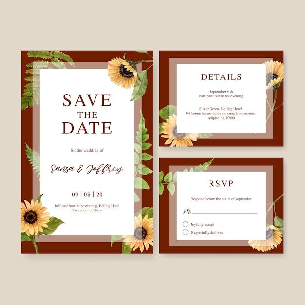 Hochzeits-einladungsaquarell mit schönem herbstthema Kostenlosen Vektoren
