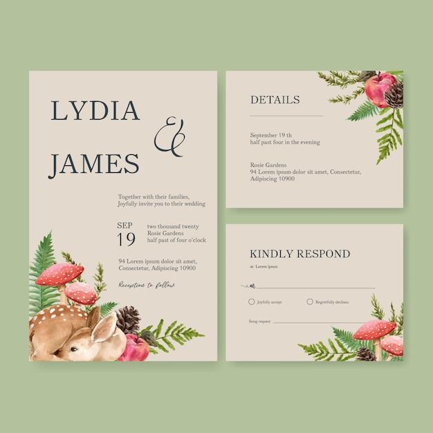 Hochzeits-einladungsaquarell Kostenlosen Vektoren