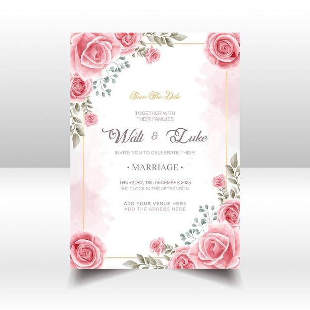 Hochzeits-einladungskarte mit rosa rosen-blumen-aquarell-art Premium Vektoren