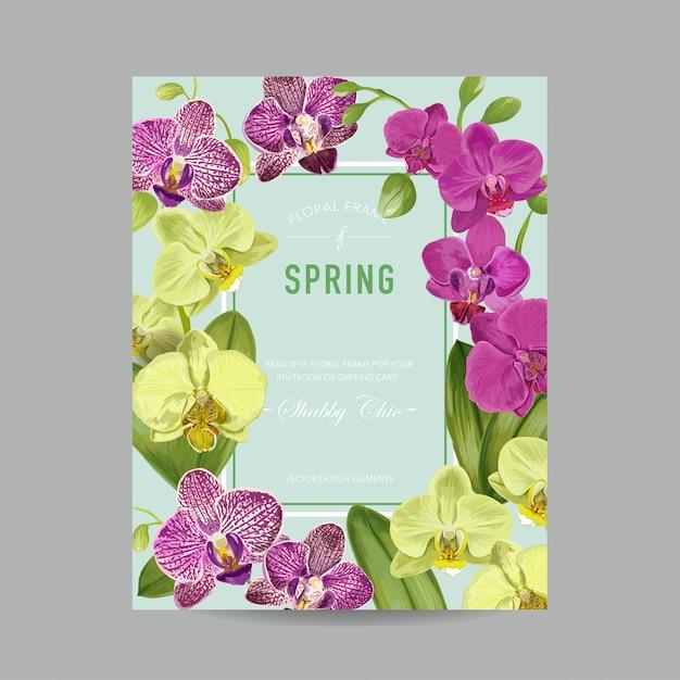 Hochzeits-einladungsplan-schablone mit orchideen-blumen. s Premium Vektoren