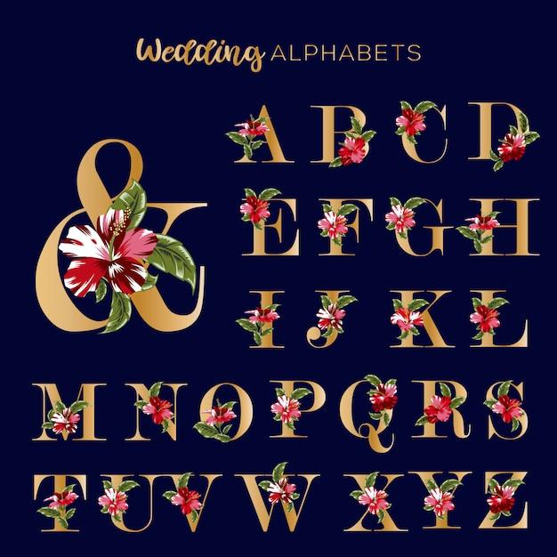 Hochzeits-goldene alphabete mit blumenrot-hibiskus Premium Vektoren