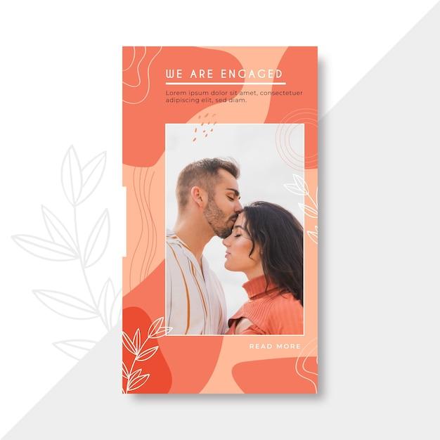 Hochzeits-instagram-geschichtenschablone Kostenlosen Vektoren